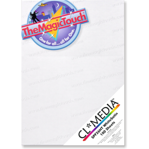 TheMagicTouch CL*Media SPF26HT White Satin adhesive labels